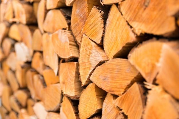 Fond de bois de chauffage haché closeup