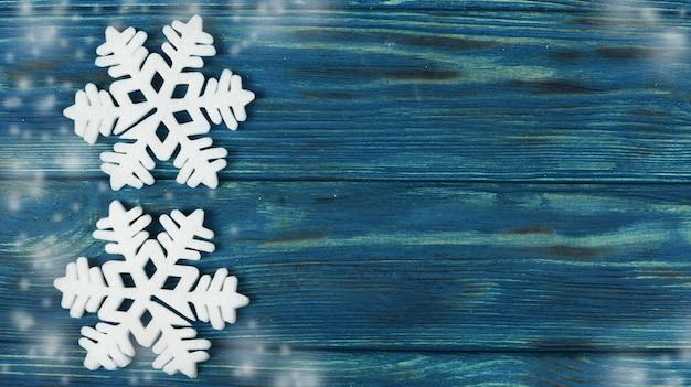 Fond en bois de flocons de neige