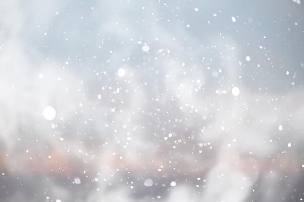 Fond de bokeh de chute de neige bleue, fond abstrait de flocon de neige bleu abstrait flou