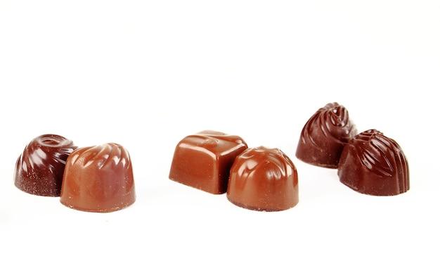Fond de bonbons au chocolat brun gros plan
