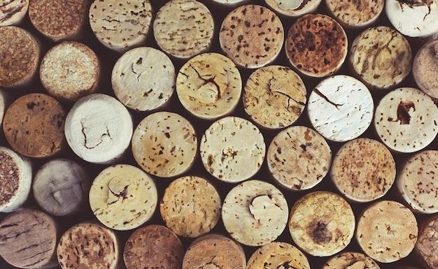 Fond de bouchons de vin gros plan, macro. contexte de vinification.