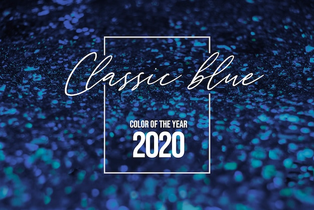 Fond brillant de paillettes bleues classiques. couleur de l'année 2020, palette bleue avec échantillon bleu classique profond pour impression, conception web. coloris textile en couleur tendance bleu classique de l'année 2020.