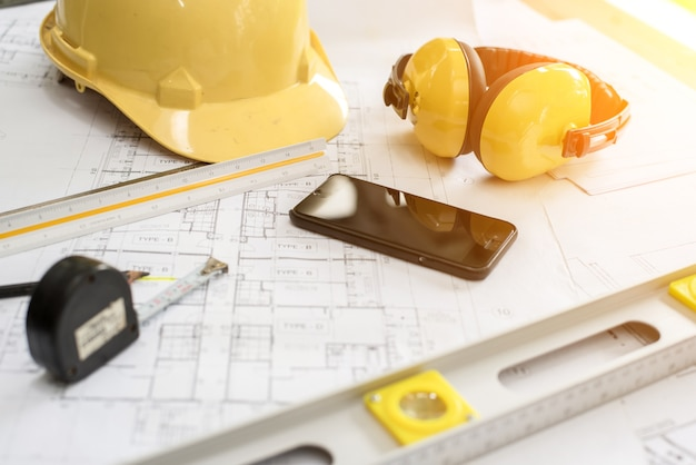 Fond de bureau d'ingénieur, concept d'idées de projet