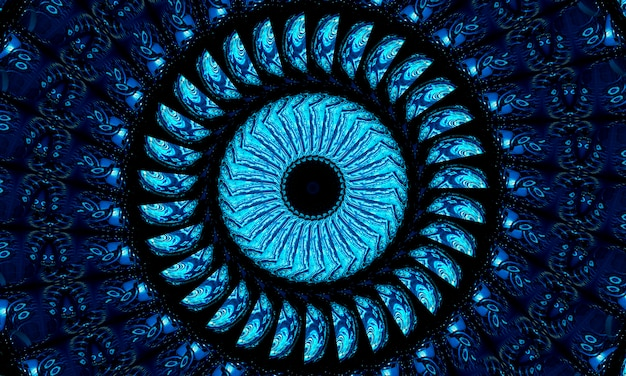 Fond de cadre brillant rond bleu très foncé. contexte technologique.
