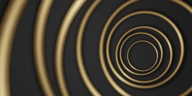 Fond de cadre de cercle d'or fond noir luxe simple pour coller le texte 3d illustration