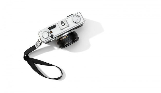 Fond de caméra isolé plat caméra de film. espace de copie