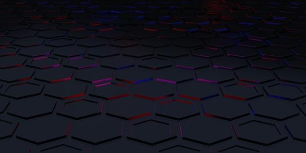 Fond carré hexagone scène technologique fond abstrait illustration 3d premium