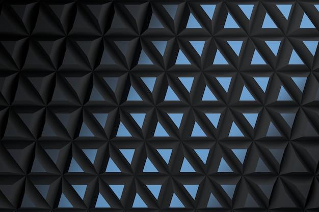 Fond avec des carreaux de triangles pyramide dans des couleurs bleu foncé