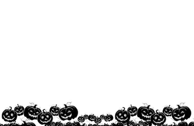 Fond de carte postale halloween. citrouilles noires qui rient. concept fantasmagorique et mystique. fêtes d'automne de la toussaint. copiez le lieu de l'espace.