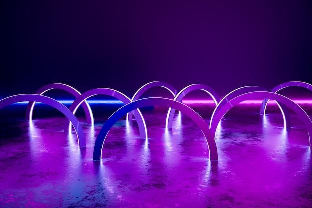 Fond, cercles abstraits de néons