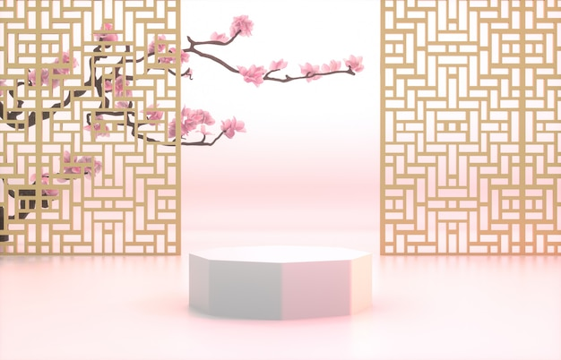 Fond chinois avec podium blanc pour l'affichage du produit.
