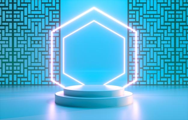 Fond chinois avec podium bleu et néon pour l'affichage du produit.