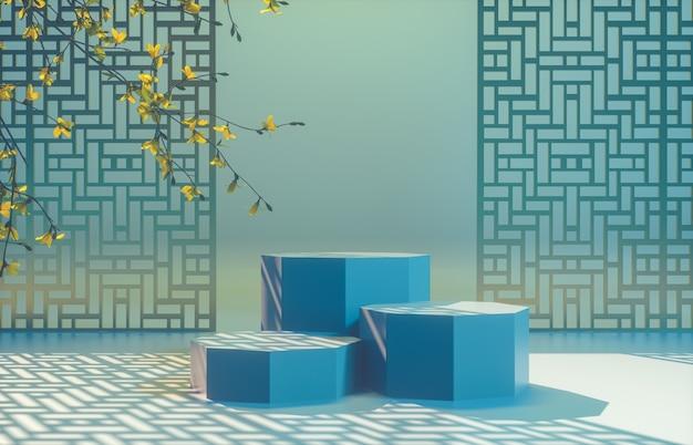 Fond chinois avec podium bleu pour l'affichage du produit.