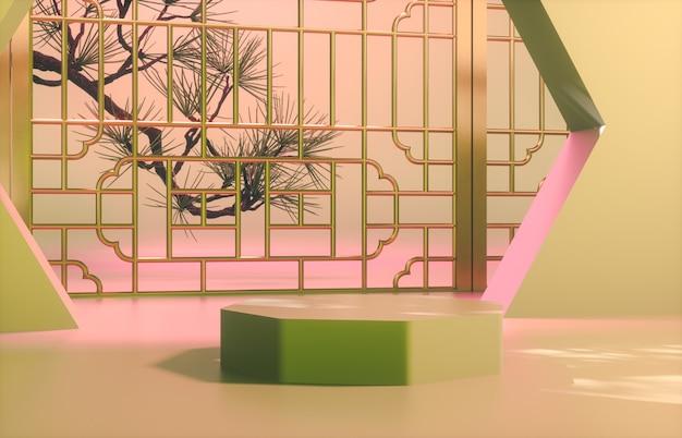 Fond chinois avec podium vert pour l'affichage du produit.