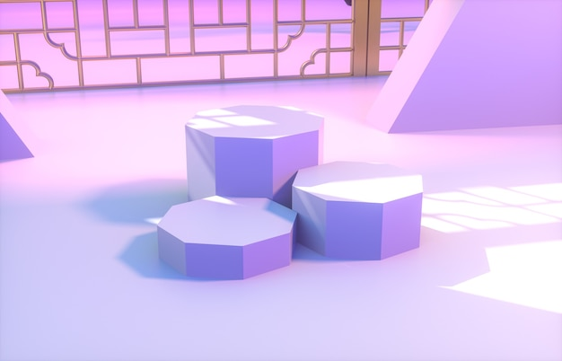 Fond chinois avec podium violet pour l'affichage du produit.