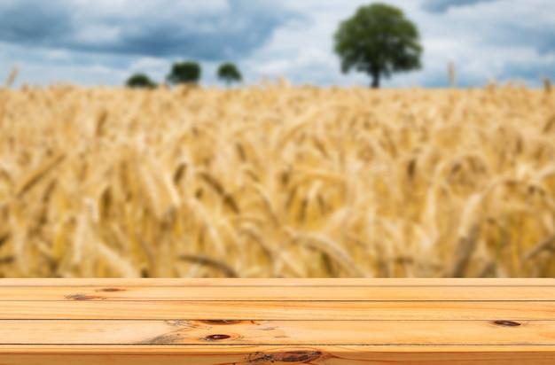Fond de ciel de ferme d'orge avec affichage de produits de table en bois