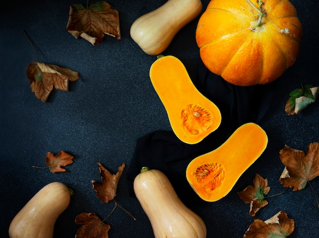Fond de citrouille d'automne, diverses citrouilles et feuilles jaunes. thanksgiving et halloween concept. composition plate de nature morte. fond noir, vue de dessus. espace pour le texte.
