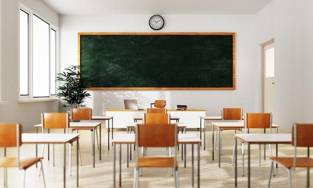 Fond de classe blanc vide avec table de tableau vert et siège sur plancher en bois