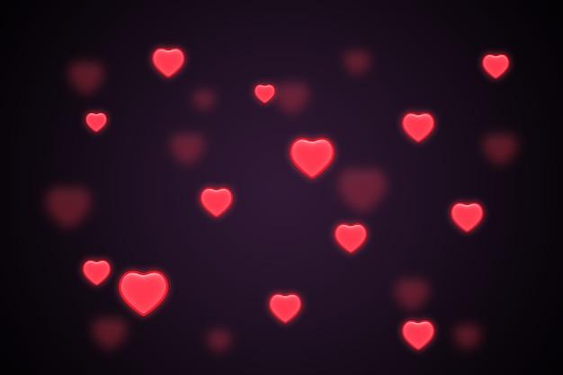 Fond de coeur d'amour brillant, concept de saint valentin
