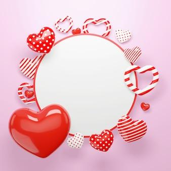 Fond de coeurs 3d. cadre de cercle joyeux saint valentin avec des éléments de forme de coeurs et des décorations