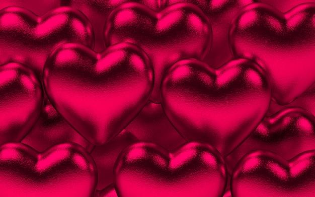 Fond de coeurs métalliques valentine en rose