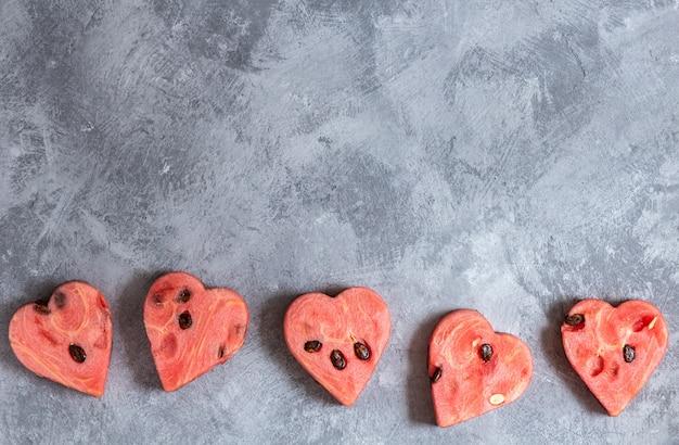 Fond de coeurs de pastèque