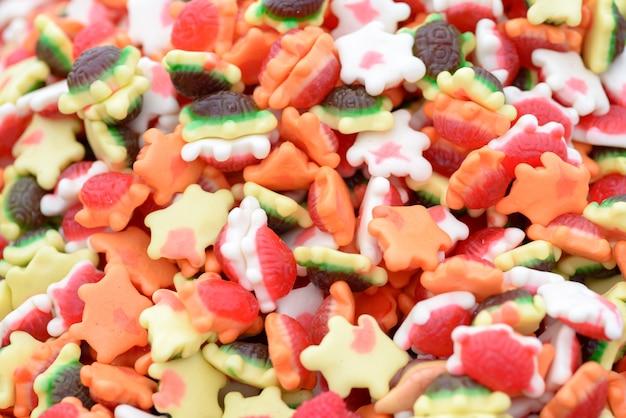 Fond coloré de bonbons tortue gommeuse