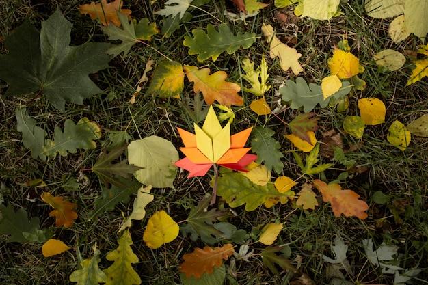 Fond de concept d'automne artisanat en papier traditionnel origami à la main feuilles d'érable tombées nature image de fond coloré parfait pour une utilisation saisonnière lumière du soleil