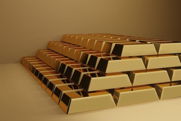 Fond de concept de financement bancaire - lingot d'or sur des piles de lingots d'or se bouchent