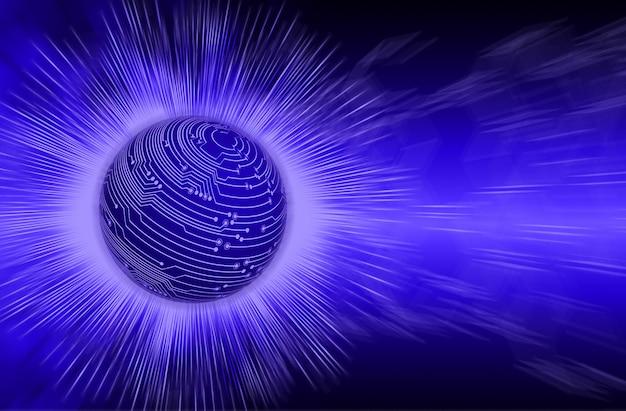 Fond de concept de technologie future du circuit cyber du monde bleu