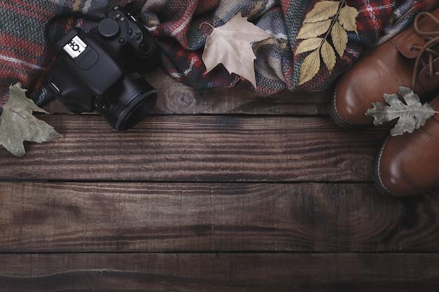 Fond de concept de voyageur ou photographe, vue de dessus, plat poser