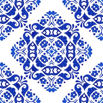 Fond de conception de carreaux de céramique transparente aquarelle dessinés à la main bleue.