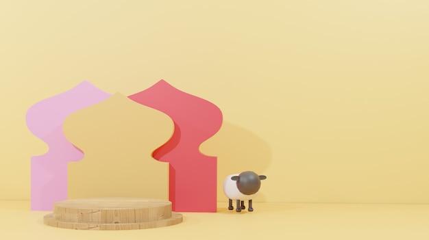 Fond de conception islamique avec des moutons pour le sacrifice et un podium en bois adapté à l'aïd al adha