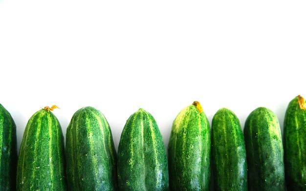 Fond de concombres frais verts. les concombres se trouvent exactement dans une rangée sur un fond blanc. texture naturelle.