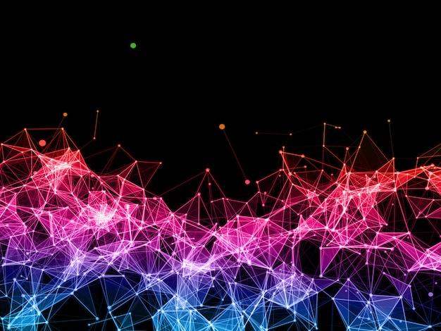Fond de connexions réseau 3d avec conception de plexus à faible poly