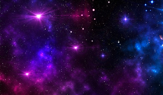 Fond cosmique étoilé avec nébuleuse