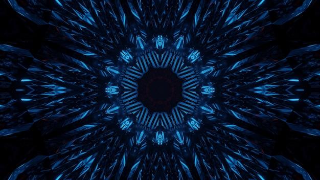 Fond cosmique avec des lumières laser au néon bleu