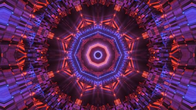 Fond cosmique avec des lumières laser au néon colorées