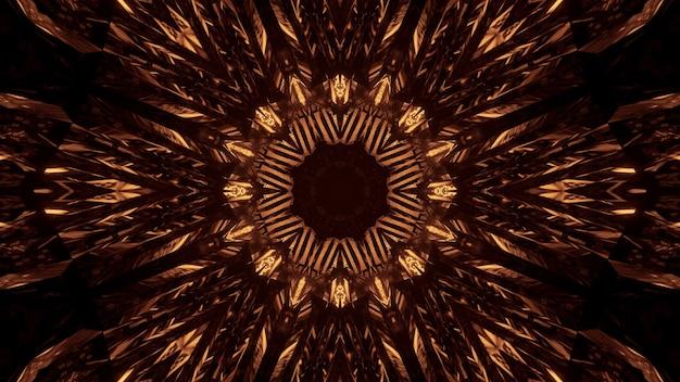 Fond cosmique avec des lumières laser au néon dorées - parfait pour un fond numérique