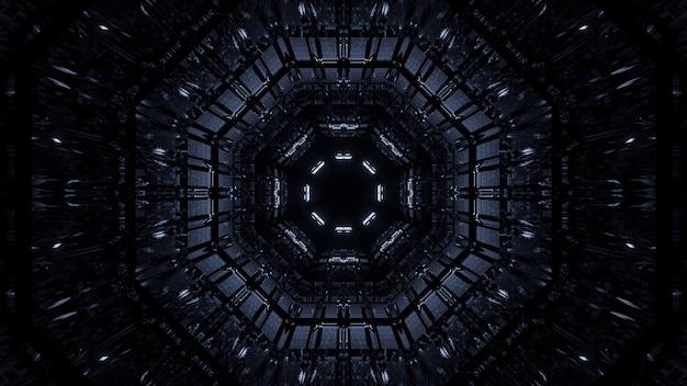 Fond cosmique de lumières laser blanches et noires