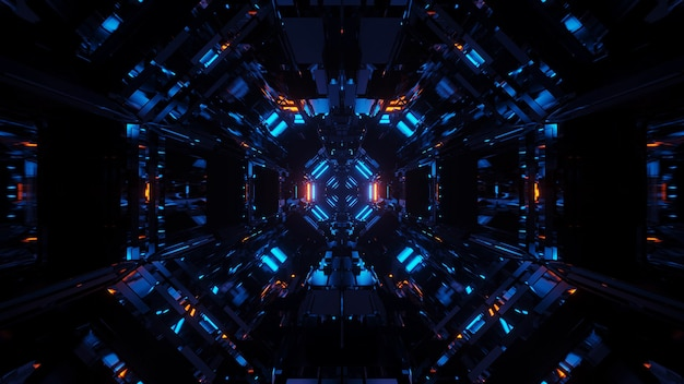 Fond cosmique avec des lumières laser bleues avec des formes cool