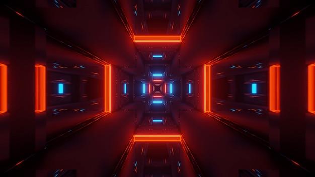 Fond cosmique avec des lumières laser colorées rouges et bleues - parfait pour un fond d'écran numérique