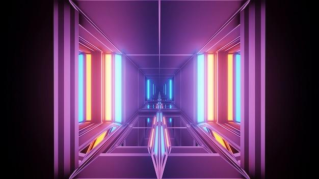 Fond cosmique avec des lumières laser géométriques colorées