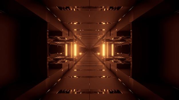 Fond cosmique avec des lumières laser néon dorées