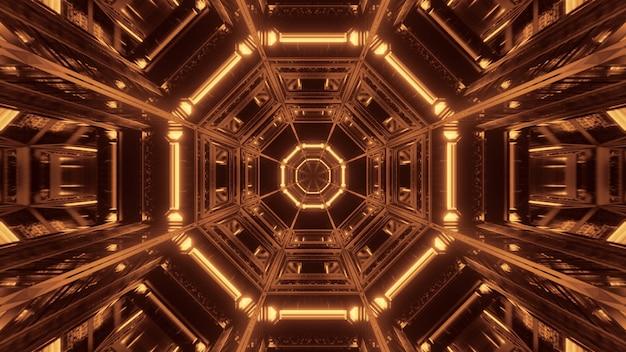 Fond cosmique avec des lumières laser noires et dorées