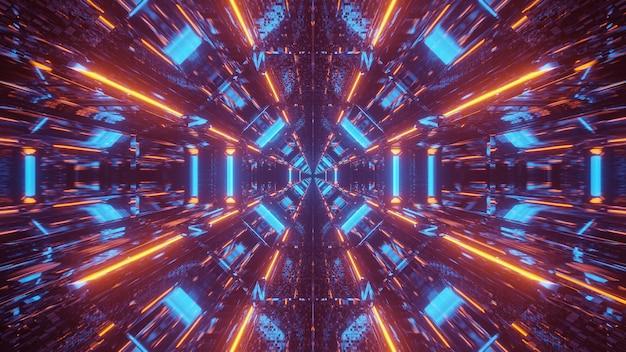 Fond cosmique avec des motifs de lumières laser bleues et orange - parfait pour un papier peint numérique