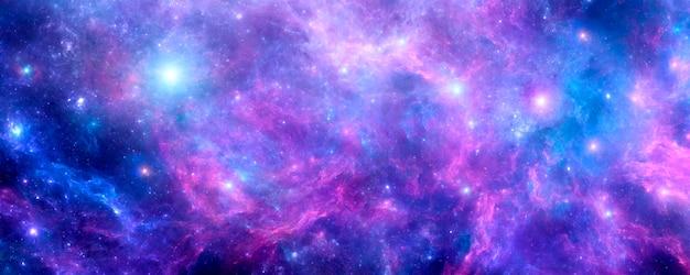 Fond cosmique avec nébuleuse violette, poussière d'étoile et étoiles brillantes. galaxie bleue