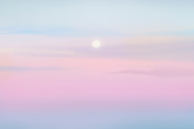 Fond de coucher de soleil sur ciel pastel