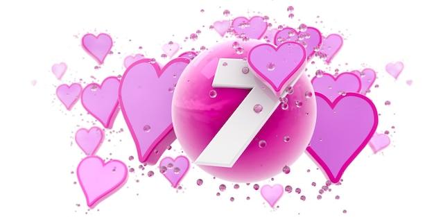 Fond en couleurs roses avec des coeurs et des sphères