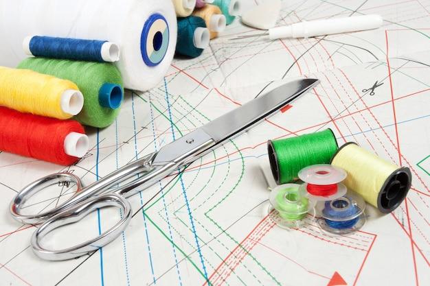 Fond de couture: ciseaux en métal, fils multicolores et courbe de couture